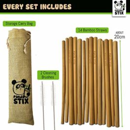 Reusable Bamboo Drinking Straws | 100% Natural, Eco Friendly & Biodegradable | Organic Straw Set | Includes Cleaning Brushes & Straws Storage Case Bag | Dishwasher Safe | Plastic Free | by Panda STIX