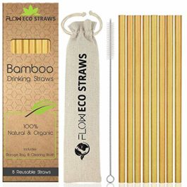 Bamboo Drinking Straws – 100% Natural Reusable Straws Biodegradable Eco Friendly Drinks, Cocktail Straw Set with Linen Storage Bag & Recycled Packaging