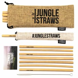 Jungle Straws | Reusable Bamboo Drinking Straws | 100% Natural & Eco Friendly | Biodegradable & Organic | Includes Cleaning Brush, Single Straw Pouch & Storage Bag | Dishwasher Safe | Plastic Free
