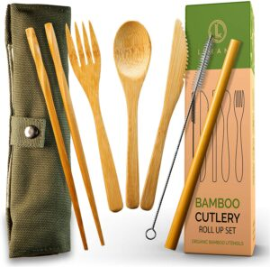 Luxano Bamboo Cutlery and Reusable Utensils with Case