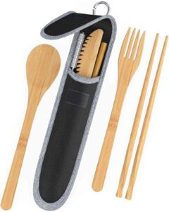 Piece Natural Bamboo Utensils Cutlery Set - Portable Kit