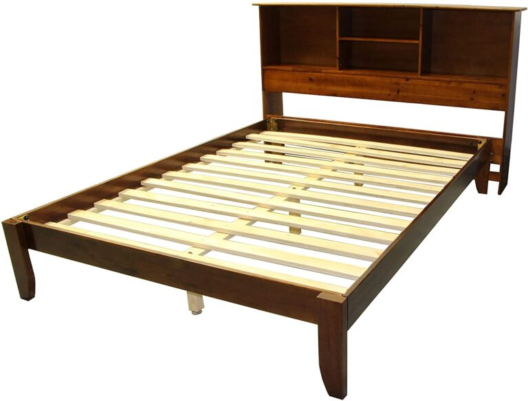 Stockholm Solid Wood Bamboo Platform Bed Frame with Matching Bookcase Headboard, Full, Walnut