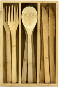 Totally Bamboo 12-Piece Reusable Bamboo Flatware Set with Portable Storage Case